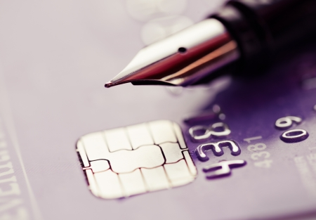bank records: Credit card and pen