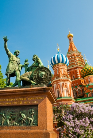 minin: The monument to Minin and Pozharsky and the most famous Russian Cathedral on the Red Square in Moscow  Stock Photo