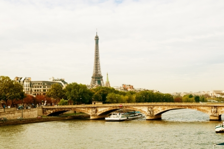 View of the Eiffel Tower and bridge photo