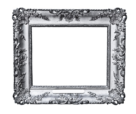 vintage silver frame, isolated on white  photo