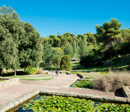 park on hill Montjuic in Barcelona. Spain photo