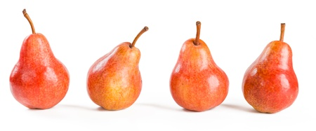 four red pears on white  Stock Photo - 21125177