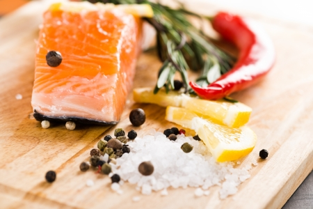 Salmon fillet with rosemary and lemon  photo
