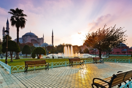 Hagia Sophia at sunrise, Istanbul, Turkey  photo