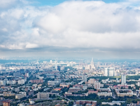 above view Moscow cityscape and blue clouds photo