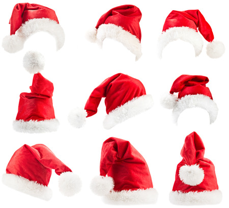 Set of red Santa Claus hats  Фото со стока