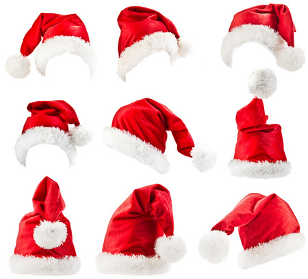 Set of red Santa Claus hats  Stock Photo