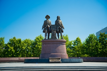 founders: YEKATERINBURG, RUSSIA - JUNY 08: Monument to Tatischev and Gennin - the founders of Ekaterinburg, Russia on Juny 08, 2012. It was opened on August 14, 1998 and devoted to the 275th anniversary of Yekaterinburg.