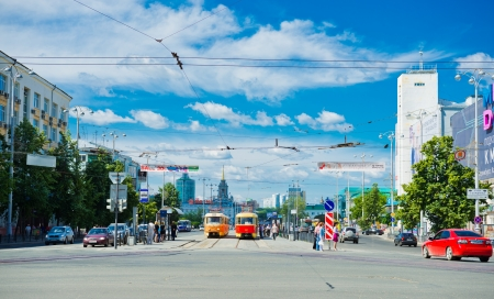 lenina: YEKATERINBURG, RUSSIA - JULY 25: Lenina street in the center of Yekaterinburg on July 25, 2012. Yekaterinburg is bidding for the 2020 Expo.