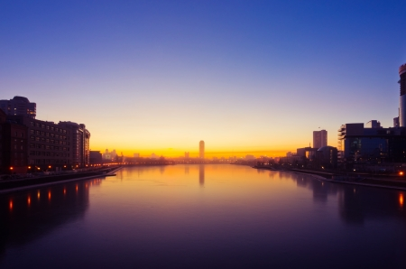 yelloow: Quay of  Yekaterinburg, sunrise, Russia