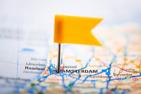Amsterdam on a map Stock Photo - 25243211