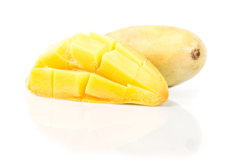 ripe mango on white background  photo