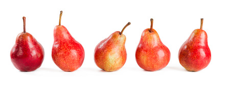 fiver red pears on white  photo