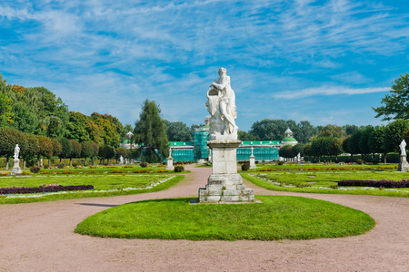White statues in the Park of Kuskovo. Moscow. Russia