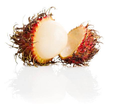 Tropical fruit, rambutan on white background  photo