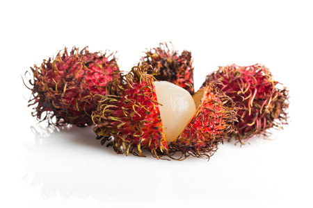 Tropical fruit, rambutan on white background  photo