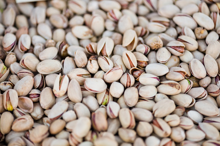 nutshells: Close up view on pistachios (into nutshells)