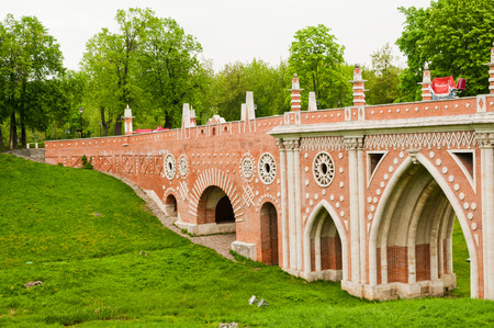 the tsaritsyno: The big bridge in Tsaritsyno, Moscow, Russia