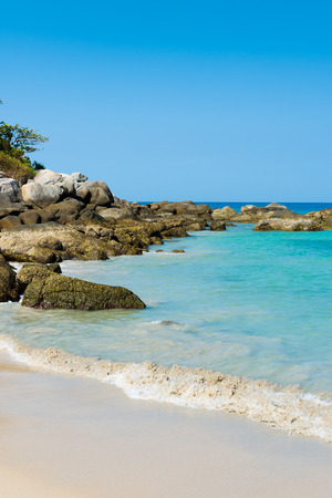 Tropical stones beach. Phuket island. Thailand  photo