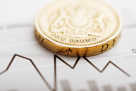 fluctuate: One pound coin on fluctuating graph. Rate of the pound sterling  Stock Photo