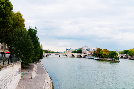 cite: View of island Isle de la Cite. Paris, France.  Stock Photo