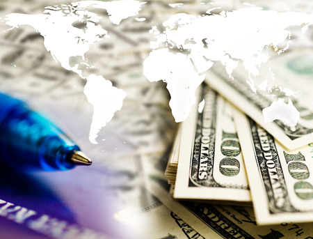 finance background: Finance background with dollars and world map. Finance concept.  Stock Photo