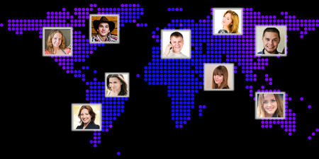 Photo of people at world map. International communication concept  photo
