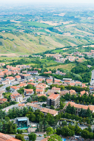 Beautiful Italian landscape. View from heights of San Marino  photo