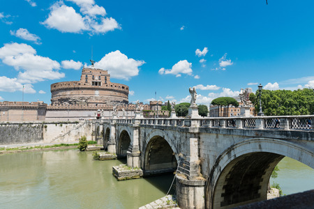 beautiful view with castle st. Angelo. Rome  photo