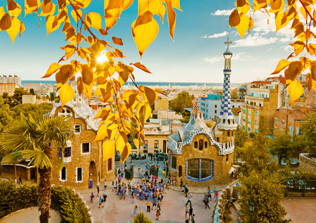 barcelona city: Park Guell in Barcelona, Spain (built in the years 1900 to 1914)