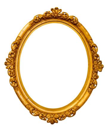 ovalo: marco de oro vintage, aislado en blanco Foto de archivo