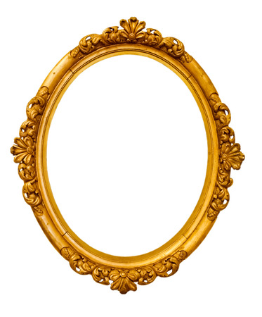 gold picture frame: vintage gold frame, isolated on white