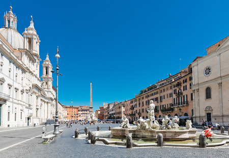 national historic site: ROME; ITALY - JULY 15; 2014: Tourists visit the Piazza Navona. Piazza Navona is one of the most beautiful places in Rome.