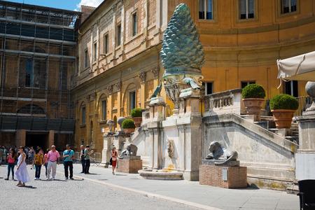 1st century: VATICAN CITY, VATICAN - JULY 15 2014: Fontana della Pigna Pine Cone Fountain from the 1st century AD, Vatican, Rome