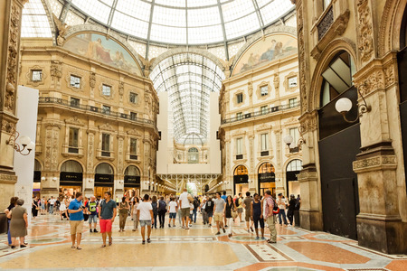 vittorio: MILAN, ITALY - JULY 20 2014: view of Galleria Vittorio Emanuele II  in Milan. Built in 1875 this gallery is one of the most popular shopping areas in Milan.