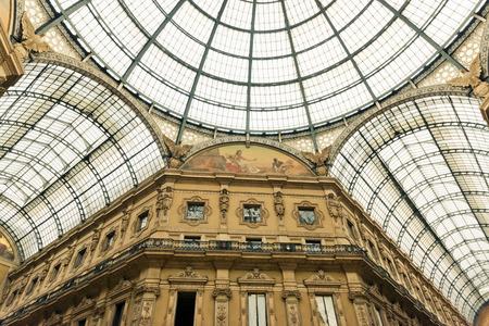 vittorio emanuele: Glass dome of Galleria Vittorio Emanuele in Milan, Italy