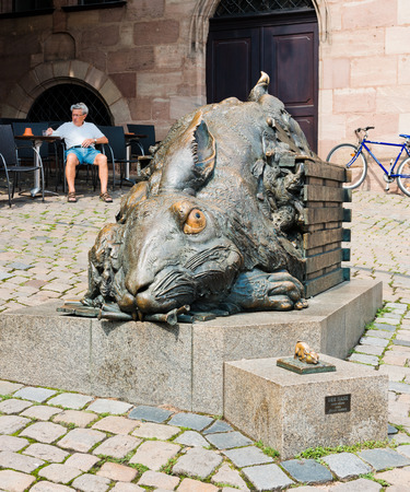 Hase: NUREMBERG, GERMANY JULY 22: the rabbit Der Hase from Duerer 1984 from Juergen Goertz. Nuremberg accommodates annually more than 2 millions tourists  Editorial