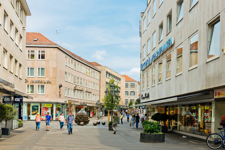 bayern old town: NUREMBERG, GERMANY JULY 22: Beautiful street  of Nuremberg in summer day. Nuremberg accommodates annually more than 2 millions tourists