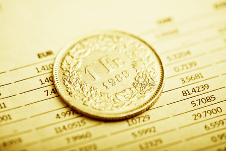 franc: Rate of the  Swiss Franc (shallow DOF) Stock Photo