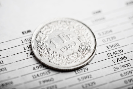 helvetia: Rate of the  Swiss Franc (shallow DOF) Stock Photo