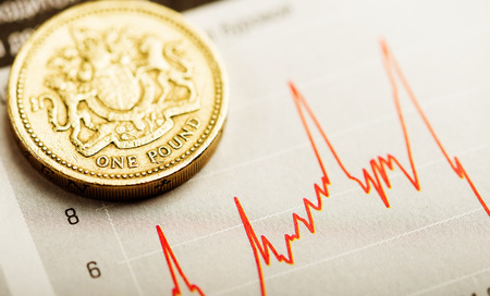 economic growth: One pound coin on fluctuating graph. Rate of the pound sterling (shallow DOF)