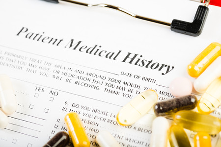 medical history: Medical history document with medicine