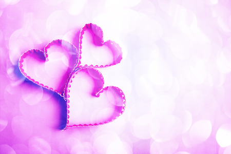 Paper heart shape symbol for Valentines day with copy space for text or design photo