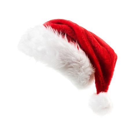 Santa Claus red hat na bílém pozadí Reklamní fotografie