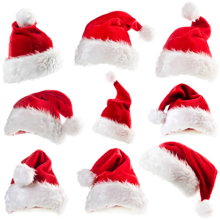 Set of red Santa Claus hats Stockfoto