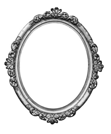grunge frame: vintage silver oval frame Stock Photo