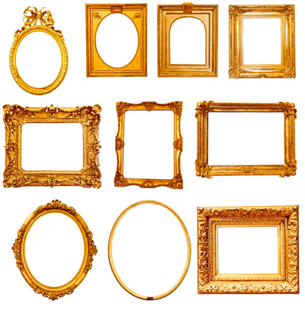 Set of golden vintage frame isolated on white