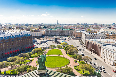 st nicholas cathedral: View of Saint Isaacs square and the Monument to Nicholas I in St. Petersburg, Russia.