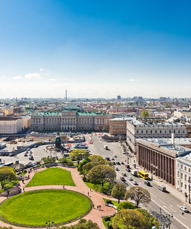 View of Saint Isaacs square and the Monument to Nicholas I in St. Petersburg, Russia. photo