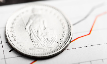 revaluation: One Swiss Franc coin on fluctuating graph. Rate of the Swiss Franc (shallow DOF)